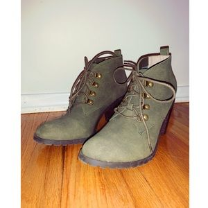 Army Green Booties Size 8